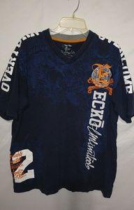 Ecko Navy White Orange Oversized T-shirt Sz L